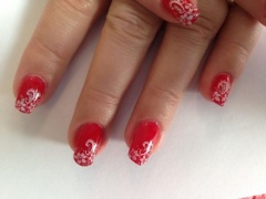 Nailart OPI Big Apple Red met stempelart